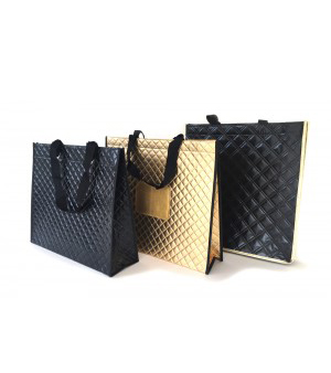 fabricant de sac réutilisable brillant mattelassé facotry of custom quilted non woven bags fabriel van metalic gelamineerde non woven draagtassen belgie